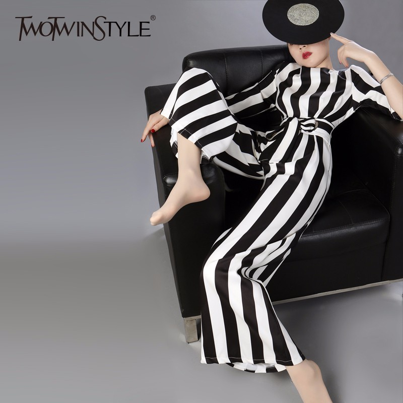 TWOTWINSTYLE Striped Jumpsuits Women Half Sleeve Lace Up High Waist Plus Size Long Wide Leg Pants 2019 Spring Summer Tide New