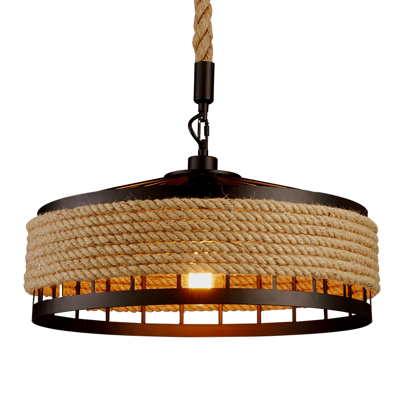 Iron rope American industry loft chandelier creative headlight Restaurant Bar Cafe light dining room pendant lamp droplight rural pastoral creative restaurant cafe personality wrought iron rope chandelier lamp internet cafe bar loft hemp rope lamp