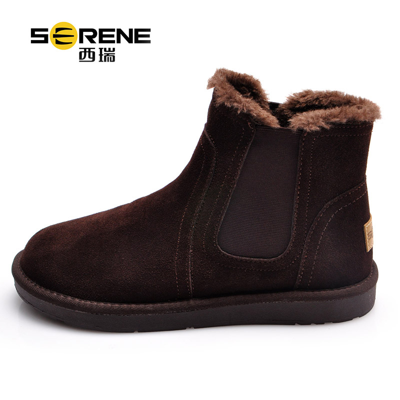 Winter Boots For Men Cow Suede Breathable Shoes Slip-on Men Snow Boots Warm Causal Footwear Rubber Outsole Anti-slip Ankle Boots winter children s boots fashion ankle belt rubber bottom equal anti slip boy girls snow boots warm round head snow boots