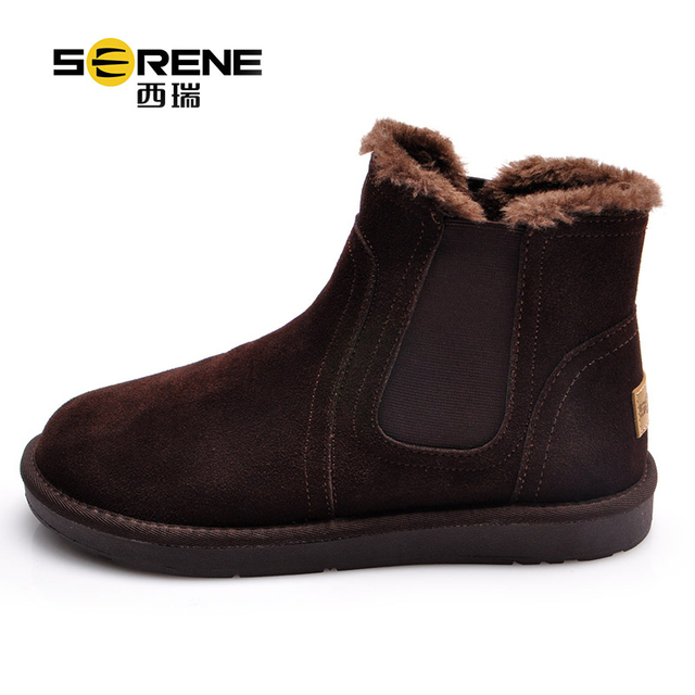 Winter Boots For Men Cow Suede Breathable Shoes Slip-on Men Snow Boots Warm Causal Footwear Rubber Outsole Anti-slip Ankle Boots