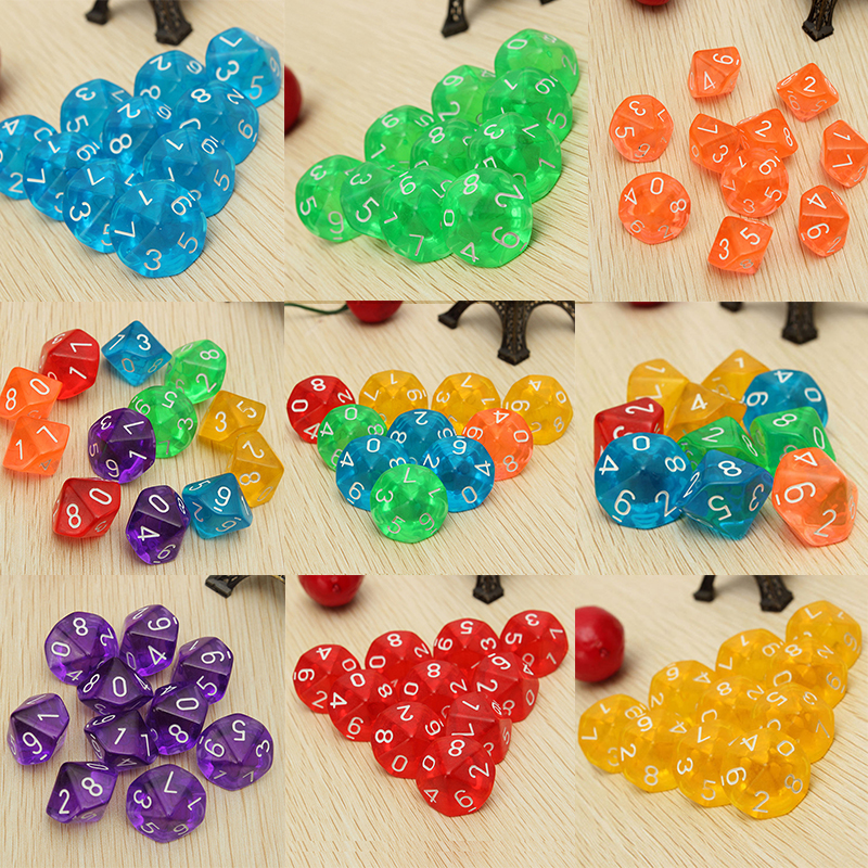 New 10pcs set Multicolor Transparent 10 Dice Die 10 Sided Gem Dice D10 RPG Dungeons   Dragons Playing Games ゲーム ポート ピン