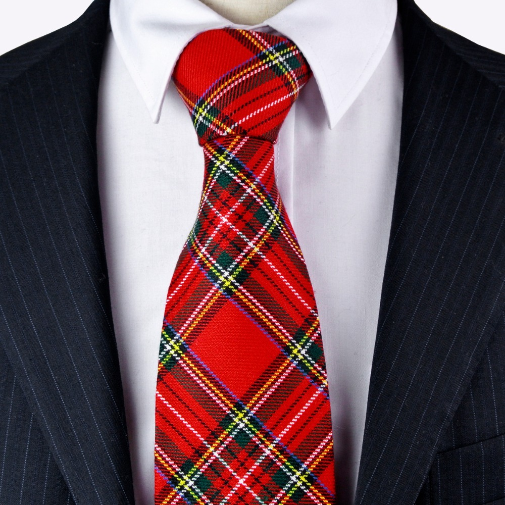 G96 Checked Plaid Scottish font b Tartan b font Red Crimson Multicolor Mens Ties Neckties Cotton