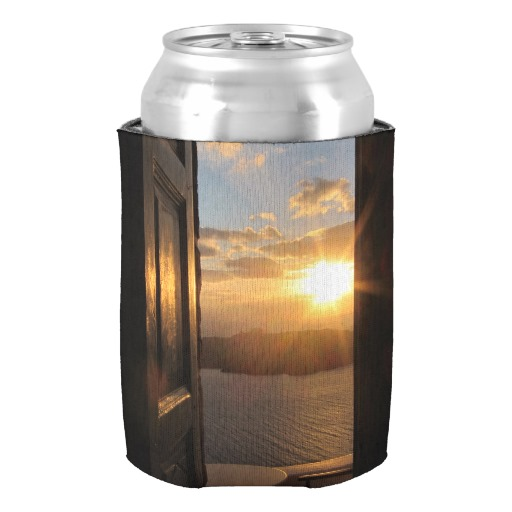 santorini sunset through door can cooler customized neoprene home decor beverage insulator vintage design beer can coolers favor - Beverage Coolers