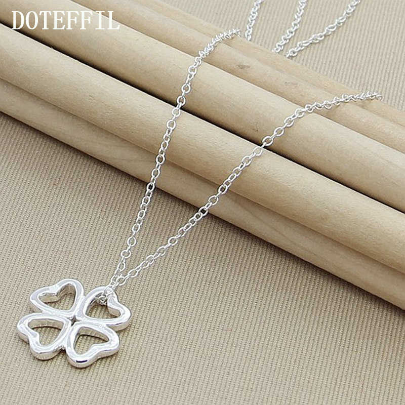 Free shipping 2019 New Necklace Glossy Flower And 925 Silver Color Heart Four Leaf Clover Lucky Pendant Necklace Jewelry