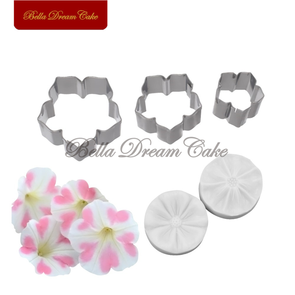 5pcs Petunia Flower Petal Veiner Silicone Molds Stainless Steel Cutter Mold Set Fondant Cake Decorating Tool DIY Handmade Mould