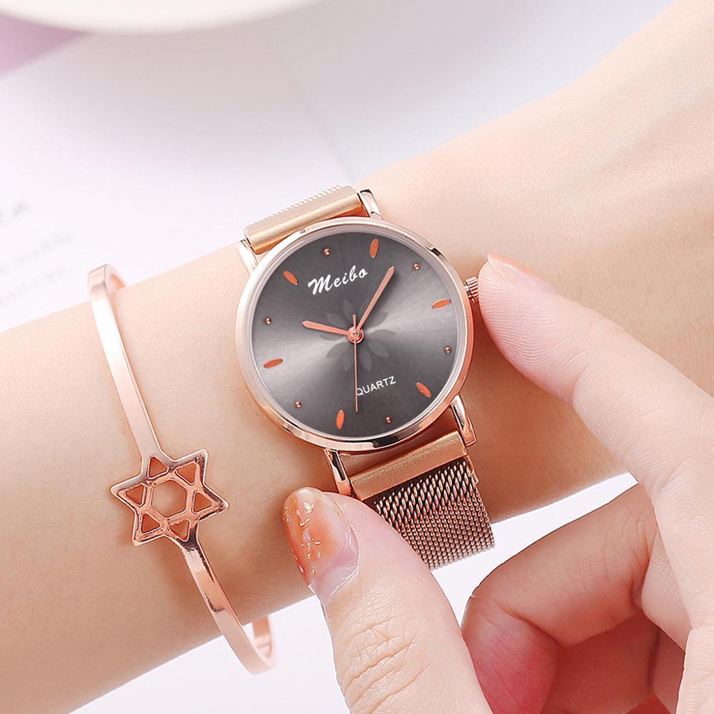 2019 Female Clock Luxury Fashion Brand Women Quartz Watch Creative Magnet Ladies Wrist Watch Mesh Flower Watch relogio feminino in Women 39 s Watches from Watches