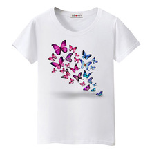 BGtomato New style butterfly tshirt summer beautiful shirts colorful top tees brand new women t-shirt hot sale