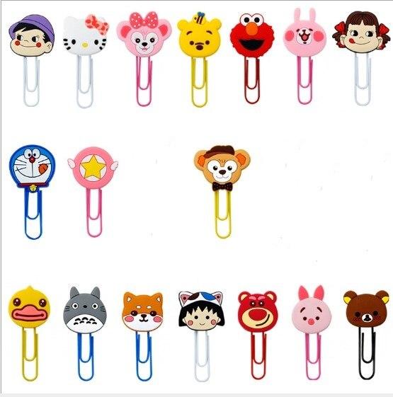 1pcs Cartoon PVC PEKO-chan Doraemon Chi-bi Maruko Totoro Bookmark Paper Clips Student Stationery Memo Clip Kids Toy Gift