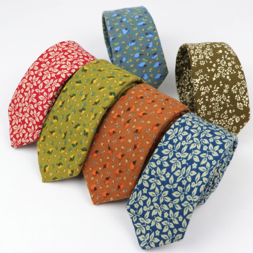 Flower Soft Mens 100% Cotton Necktie Bright Check Artificial Skinny Ties Men Business Small Tie Designer Cravat