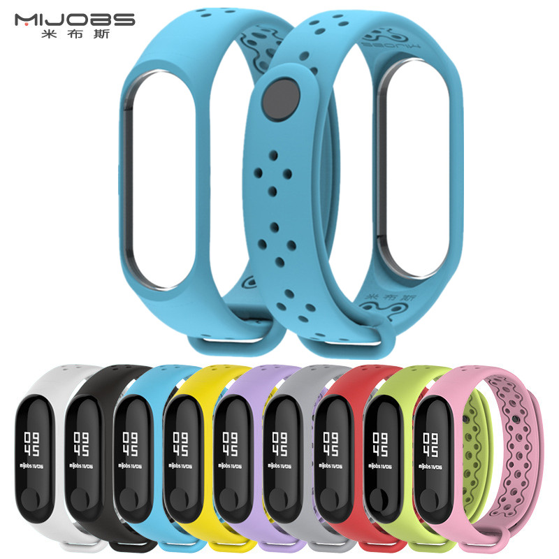 MIJOBS Mi Band 3 Strap Bracelet wrist strap watch Mi band3 accessories smart bracelet sport Silicone miband for Xiaomi mi band 3 цена и фото