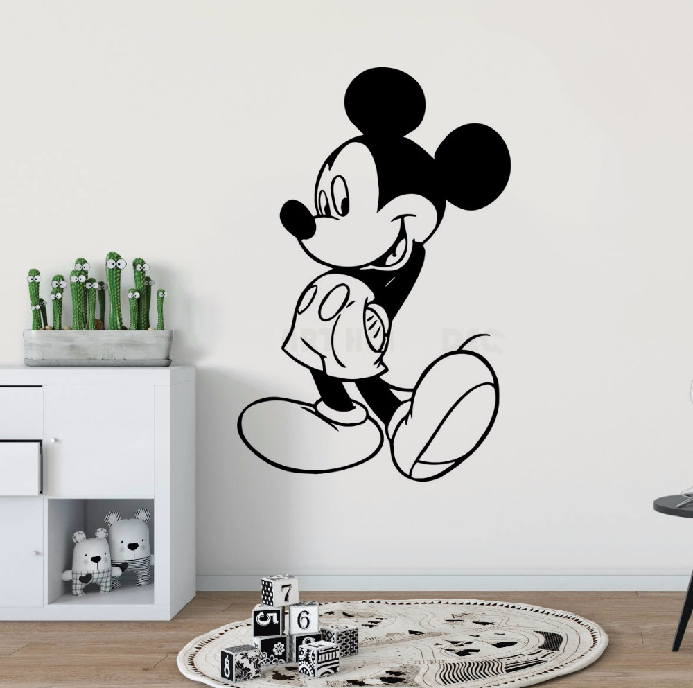 Mickey Mouse Kidsroom Decoration Cute Cartoon Mouse Decals Cartoon Character Wall Sticker Beauty Kids Baby Boys Poster W228 in Wall Stickers from Home Garden
