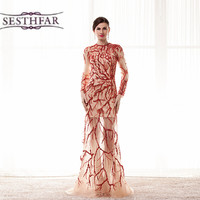 Prom Dresses Elegant Long Burgundy Lace Long Sleeve Backless Mermaid Formal Party Gown For Women Mother