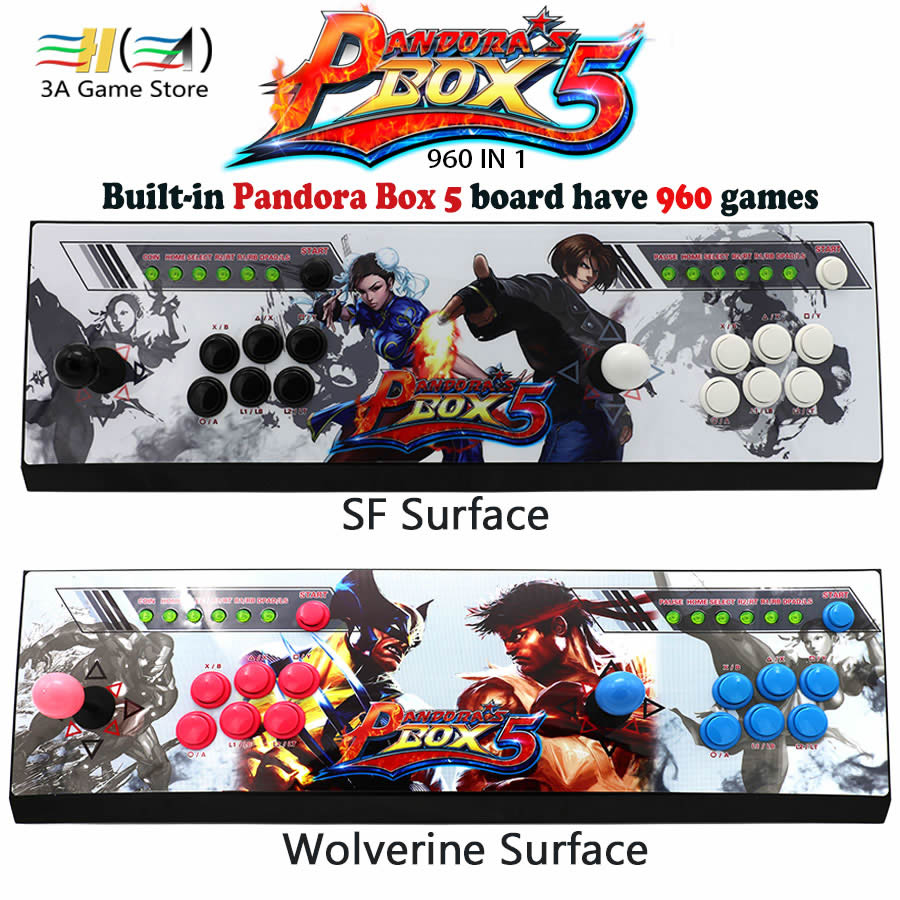 Pandora Box 5 960 in 1 games joystick arcade 2 players console With KOF/SF/Wolverine Stickers HDMI/VGA Video output For TV or PC arcade joystick gamepad kit 800 games in 1 video tv jamma 2 joystick vga hidmi metal double stick arcade console with 2players