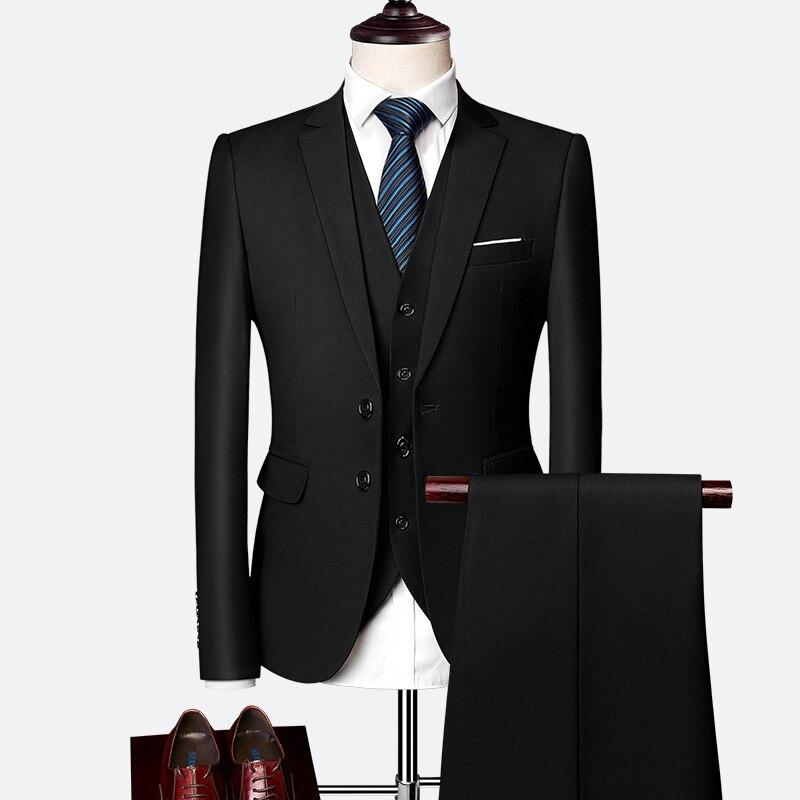 Costume homme 3 pièces ensemble affaires hommes costumes 2019 automne haut de gamme formel blazers Slim Fit fête mariage grande taille boutique costume - 2