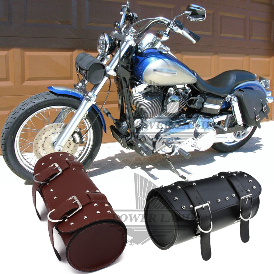 Black/Brown PU Front Fork Tool Bag Luggage Saddle Bag For