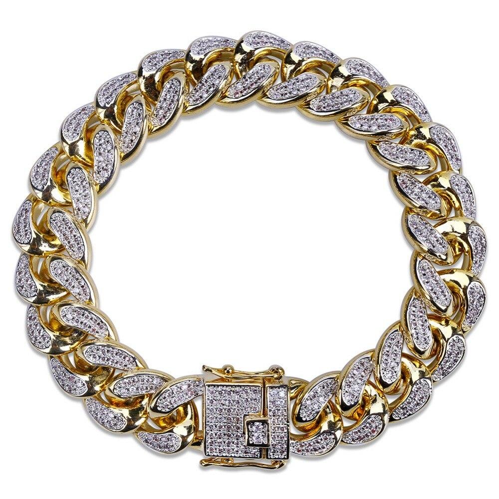 418f1b66c70a 14mm Hip Hop CZ piedras empedradas con borde de Miami pulseras de cadena de eslabones  cubanos para hombres joyas de rapero oro regalo de plata