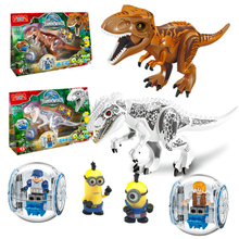 77011 NO BOX  Minions Jurassic Dinosaur World Figures Tyrannosaurs Rex Building Blocks Baby Toys For Children