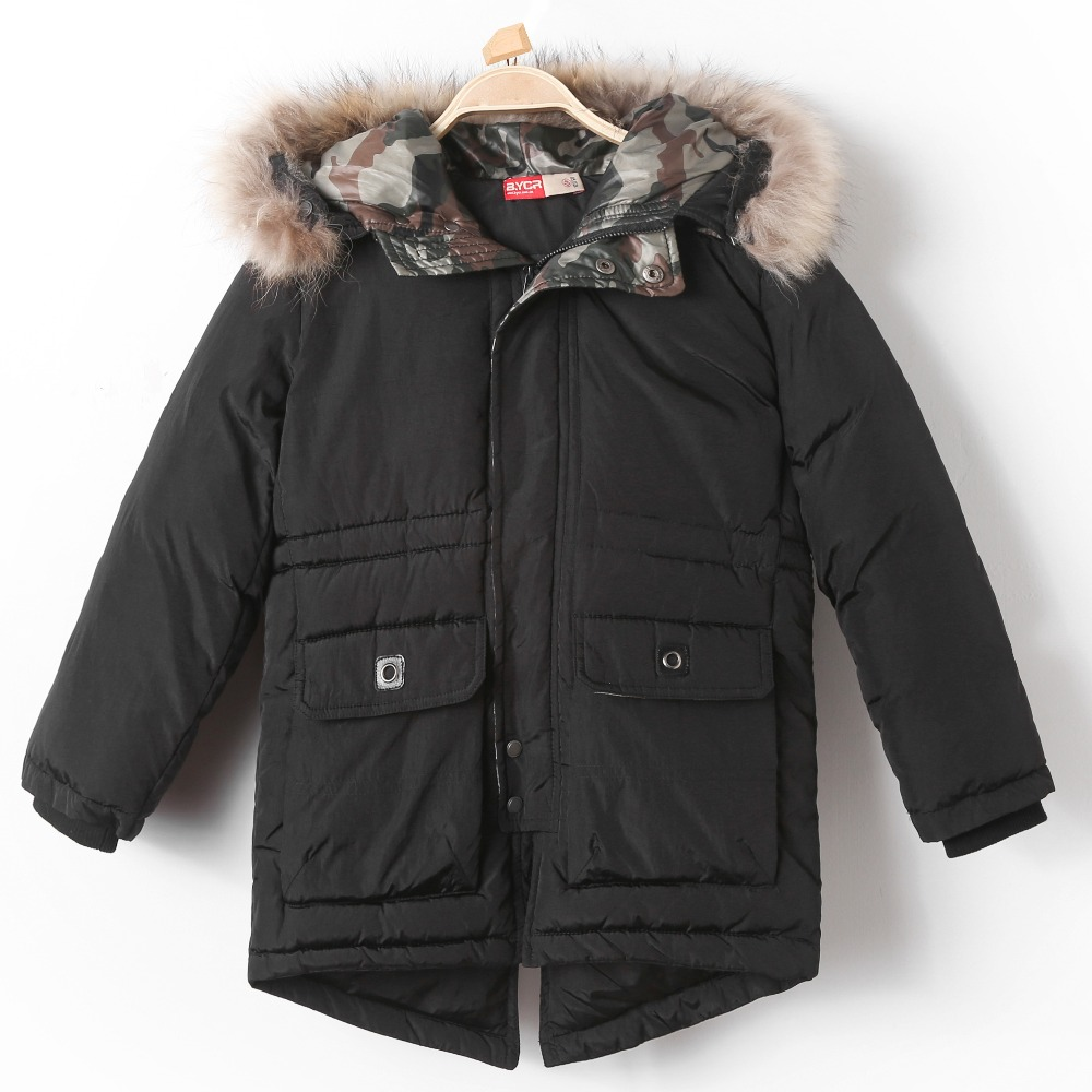 Winter Fur Hooded Down Jacket Coat for Children Thick Thermal Outerwear Boy Snow Wear Kid Warm Padded Cotton Plus Velvet Parkas boys winter jacket cotton padded fur collar hooded long kids outerwear coat thicken warm boy winter coat children clothing
