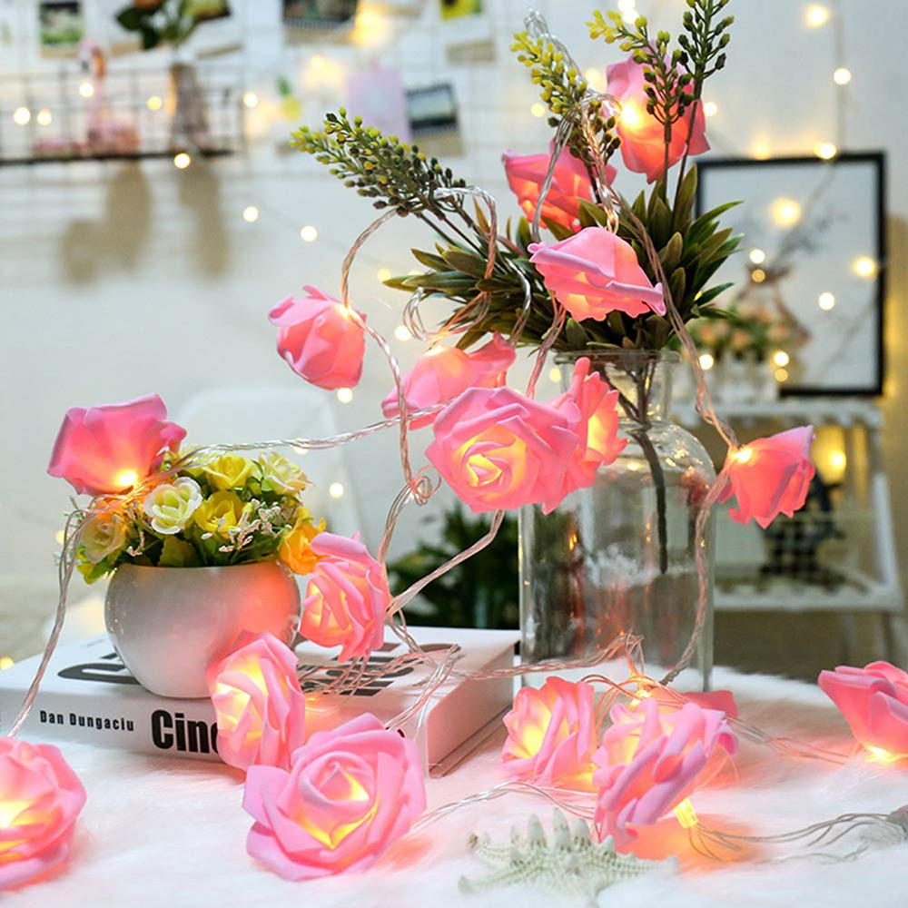 10/20/40 LED Pink Rose Flower Christmas Lights Holiday String Lights Battery Operated Valentine Wedding Party Decoration Lamp