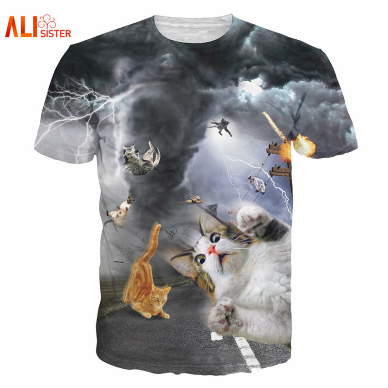 alisister new fashion womenmen funny cat t shirt print