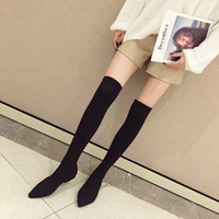 Yasilaiya 2018 Netred Winter Flat Bottom Boots/Stretch Knee Socks/Pointed/Thick heeled Women's Boots/European American style