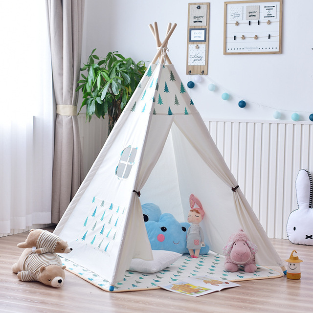 YARD Kids Tent Big Room 120*120*145cm Wooden Bracket Baby Tent Play Games Toys Solid Color Children Indoor Play Tents House