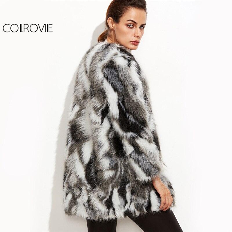 COLROVIE fausse fourrure manteau flou femmes ColorBlock ouvert avant élégant automne manteaux mode hiver à manches longues OL travail manteau survêtement - 4