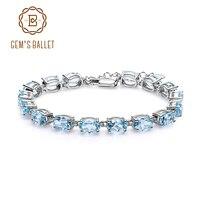 Gem's Ballet 22.11Ct Natural Oval Sky Blue Topaz Bracelets Bangles For Women 925 Sterling Silver Gemstone Bracelet Fine Jewelry