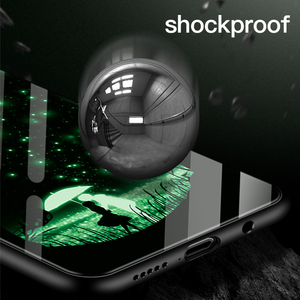 Image 3 - Luxus Luminous Gehärtetem Glas Telefon Fall Night Glow Telefon Zurück Abdeckung Für Galaxy S7 8 9 10 Plus Hinweis 8 9 10e Fall Coque Funda