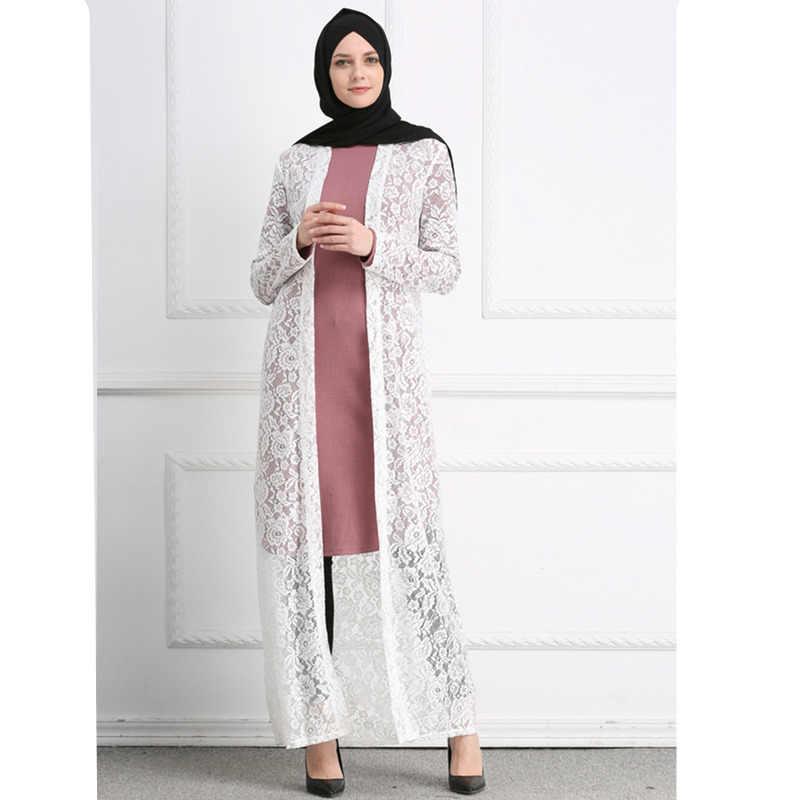 ... Full Lace Black White Dubai Abaya Kimono Cardigan Muslim Dresses Plus  Size Maxi Dress Soft Long ... ed521e26c625