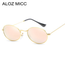 256e1b186ec ALOZ MICC Hot Small Oval Sunglasses Women Brand Designer Men Vintage Alloy  Mirror Sun Glasses For Female Eyeglasse UV400 Q196