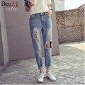 Novo 2017 calças de Brim Das Mulheres Meados de Cintura Calça Jeans Buraco Sexy Femme mulheres calças de Brim calças de Comprimento No Tornozelo Calças de Cowboy Jeans Rasgado Para As Mulheres do Sexo Feminino