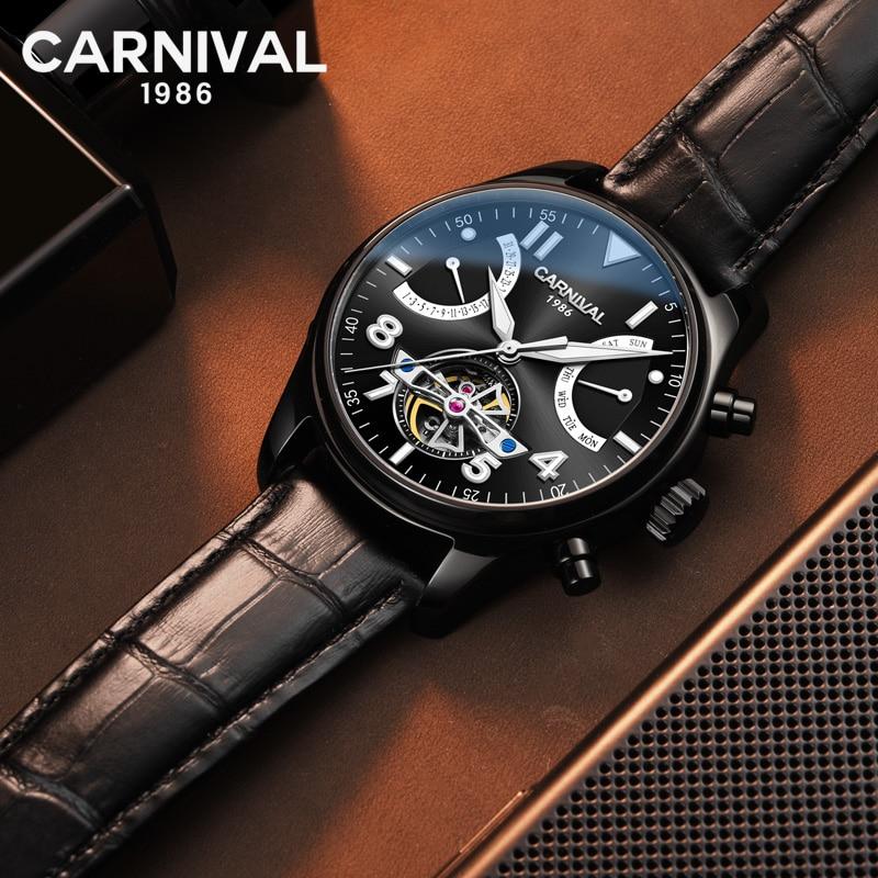 Super Nuovo Modello GUANQIN Originale Tourbillon degli uomini di affari della vigilanza superiore di marca di lusso di Scheletro Zaffiro orologio uomo Relogio Masculino - 2