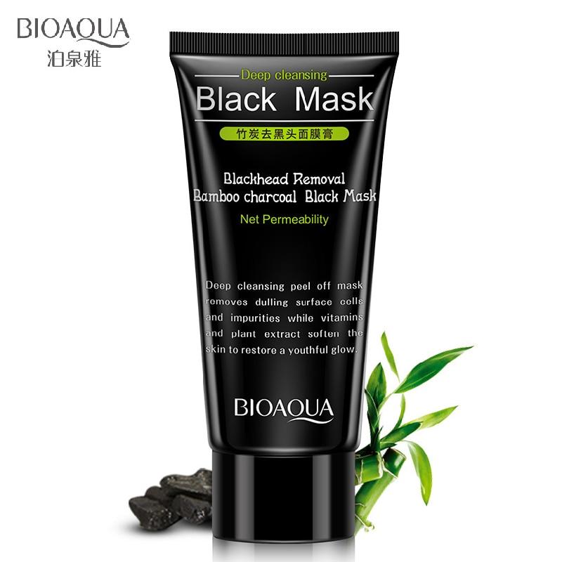 BIOAOUA Black Removal Bamboo Charcoal Black Mask Deep Cleaning Blackheads Nose Face treatment Black Heads Mask Cream Treatment  black mask deep cleansing bioaqua