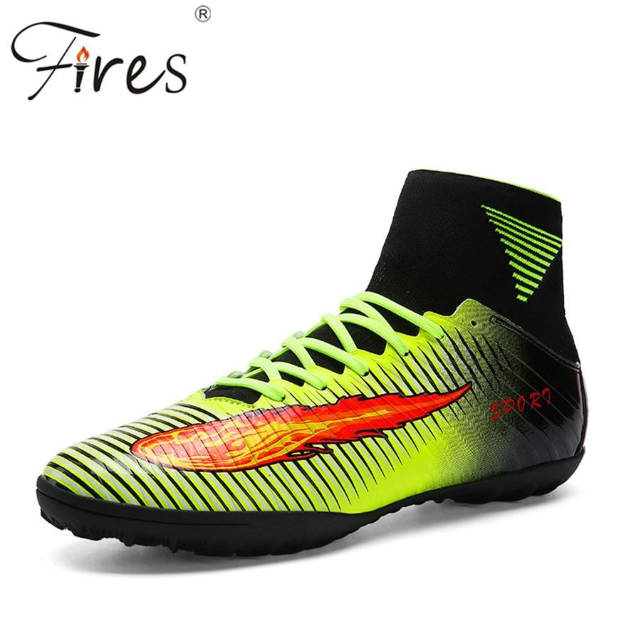 Brande Top kvalitet plus størrelse 35-45 fodboldstøvler mænd sommer fodboldsko cleats udendørs træner høj ankel fodboldsko