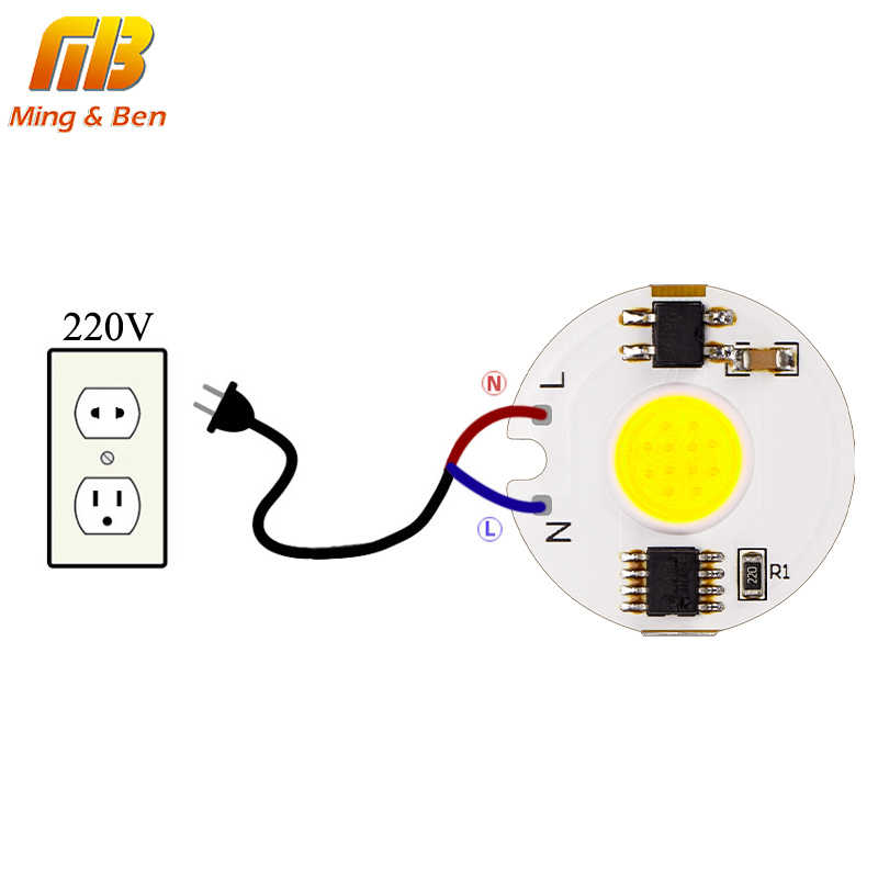 10pcs LED Lamp COB Chip 12W 9W 7W 5W 3W Real Power High Brightnes 220V Smart IC Driver DIY For Spotlight Cold White Warm White
