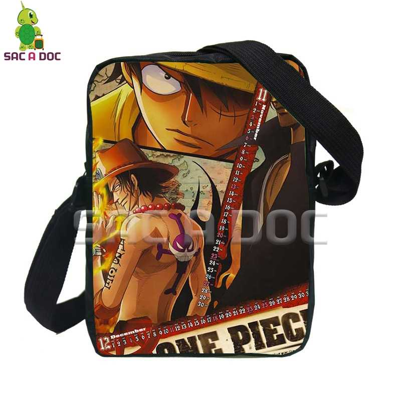 5af5f0003480 Anime One Piece Luffy Ace Law Messenger Bags Women Men Mini Handbags Kids  Boys Girls Crossbody