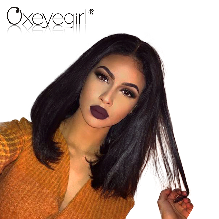 Oxeye girl 150% Density Short Bob Wig Brazilian Straight 12x6 Lace Front Human Hair Wigs For Women Natural Black Non Remy Hair