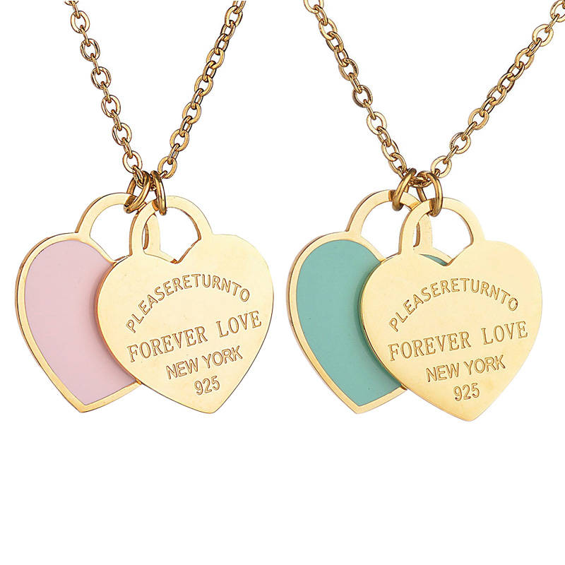 Trendy Heart Necklace&Pendant Enamel Stainless Steel Brand Tiff Design Chain Necklace Gold Color Charm Women New York Jewelry