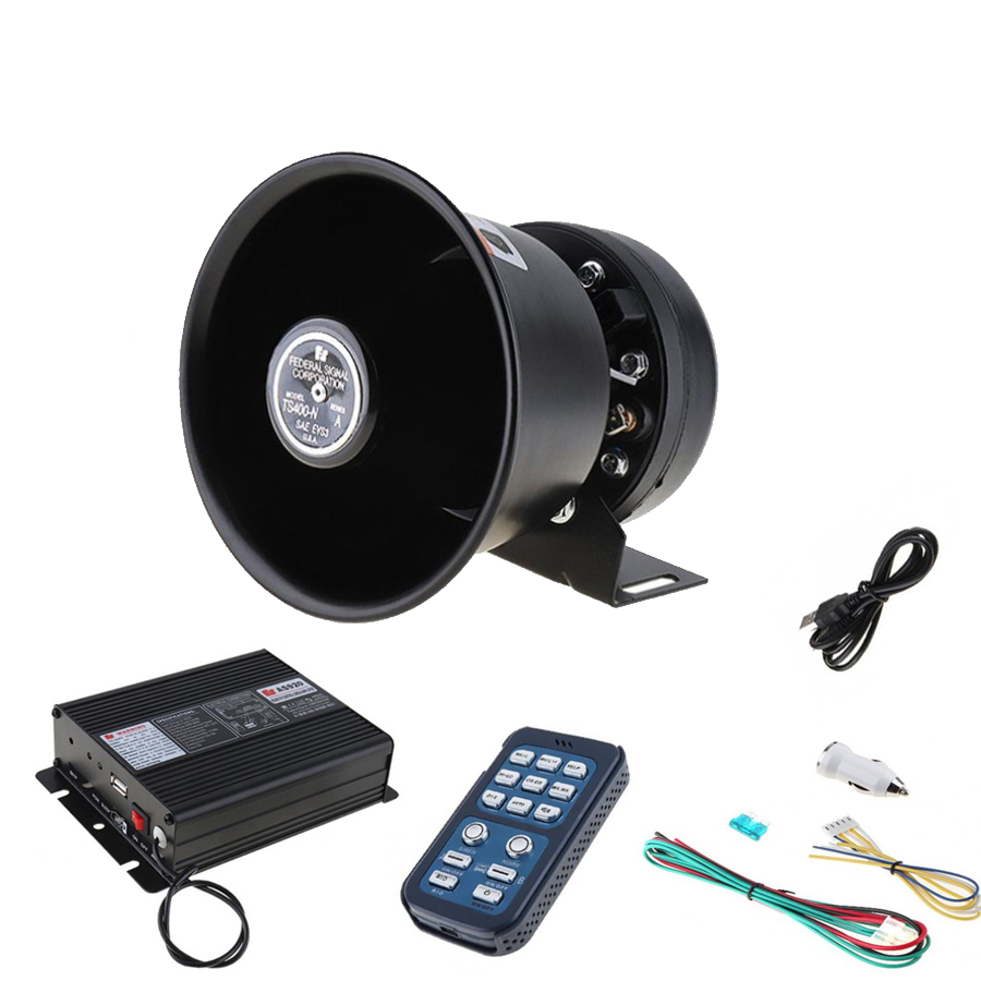 12V 400W 8 Sound Loud Car Warning Alarm Police Siren Horn Speaker with MIC System and Wireless Remote Control