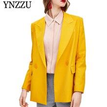 YNZZU 2019 Autumn Yellow Fashion Women Blazer Long sleeve Double breasted Loose ladies suit Hot sale office jacket YO869