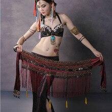 Gorący sprzedawanie tanie kobiety Tribal taniec brzucha chusta na biodra szaliki monety Tassel wydajność paski taniec brzucha na sprzedaż NMMHS001