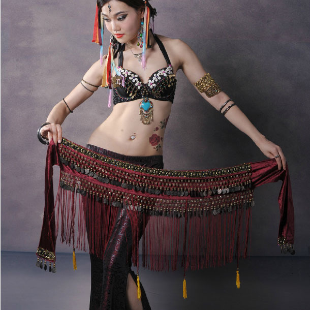 Hot Selling Cheap Women Tribal Belly Dance Hip Scarf Scarves Coin Tassel Performance Belly Dancing Waist Belts on Sale NMMHS001