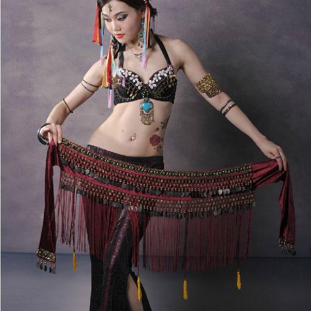 Hot Selling Billiga kvinnor Tribal magdans höft halsduk halsdukar mynt kvast prestanda mage dans midje bälten till salu NMMHS001