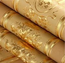 Européenne luxe feuille d'or papier peint 3D Floral rayé Wallpaper rouleau salon TV papier peint étanche Papel De Parede rouleau