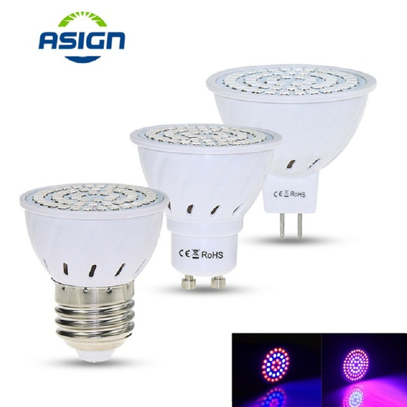 Лампы для растений, Светать 220 V 5 W E27 Gu10 Mr16 Smd2835 лампы для растений Vegs Фито лампы 36 54 72leds красные, синие светодиодные для роста растений Fitolampy