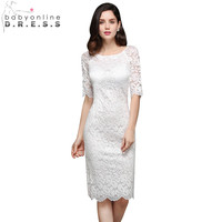 New Cheap Elegant White Full Lace Homecoming Dresses 2019 Knee Length Half Sleeve Cocktail Women Special Occasion Dresses