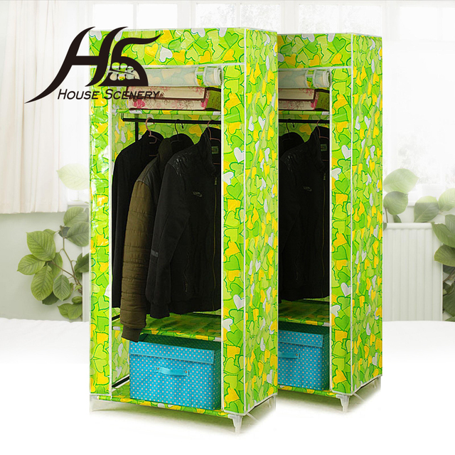 Attirant House Scenery Furniture Bedroom Steelframe Folding Fabric Wardrobe Closet  Clothes Storage Cabinet Portable Wardrobe Hanging Gift