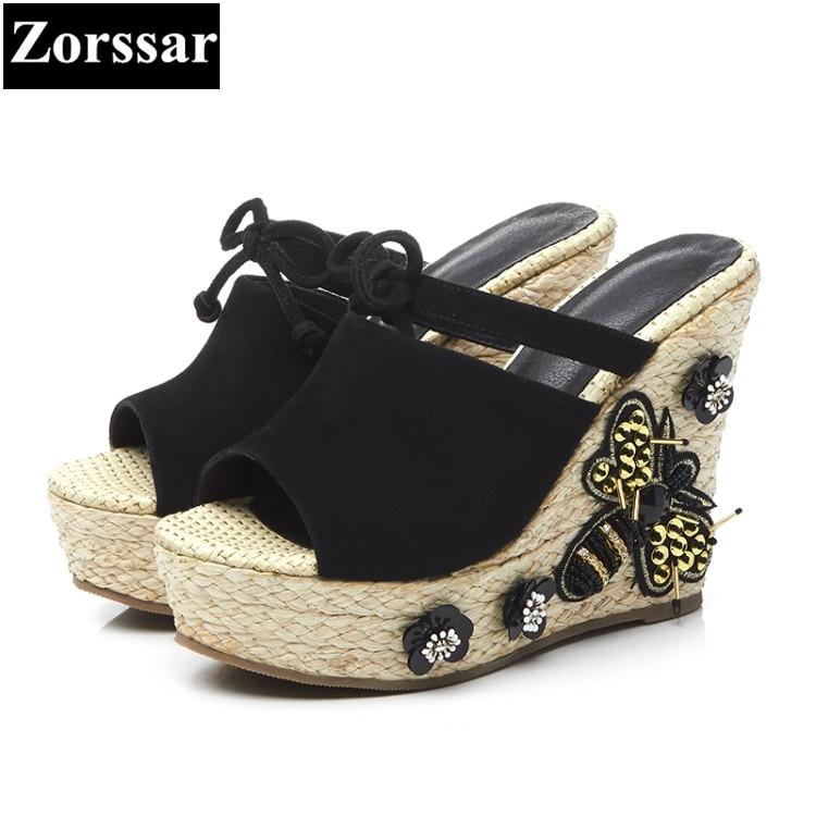 ФОТО Summer Women Slides platform High heels sandals woman wedges slippers 2017 Fashion straw Suede women's heels pumps shoes