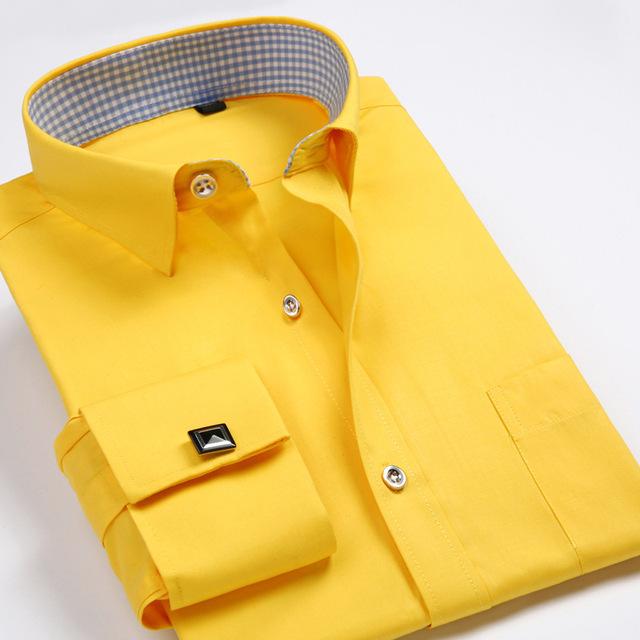 2016 francés gemelos para hombre de manga larga de cuello blanco comercial adelgazan las camisas de vestido camisas de trabajo empresariales camisas de puño francés para hombre